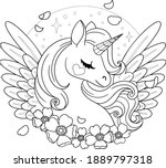magical pegasus with anemones.... | Shutterstock .eps vector #1889797318