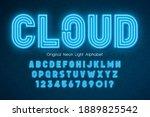 neon light 3d alphabet  extra... | Shutterstock .eps vector #1889825542