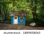 Blue Old Cabin With Boat In The ...