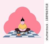 christian kid praying before... | Shutterstock .eps vector #1889865418