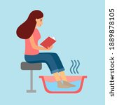 female soaking feet in bowl... | Shutterstock .eps vector #1889878105