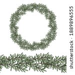wreath of branch rosemary and... | Shutterstock .eps vector #1889896555