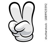 a sign of peace. gesture v sign ... | Shutterstock .eps vector #1889925592