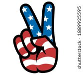 peace sign. gesture v victory... | Shutterstock .eps vector #1889925595