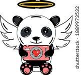 kawaii romance panda carrying... | Shutterstock .eps vector #1889973532