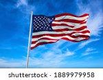 Large  American Flag Waving In...