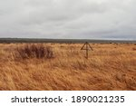 Wooden Cross In The Steppe. Old ...