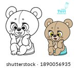 cute little teddy bear sitting...   Shutterstock .eps vector #1890056935