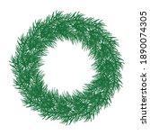 wreath of branch fir tree.... | Shutterstock .eps vector #1890074305
