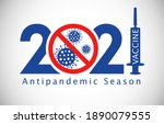 2021 new year anticoronavirus... | Shutterstock .eps vector #1890079555