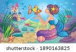 beautiful princess or mermaid... | Shutterstock .eps vector #1890163825