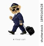 bear doll in airline pilot... | Shutterstock .eps vector #1890165628