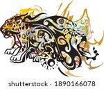 colorful jaguar symbol on a... | Shutterstock .eps vector #1890166078