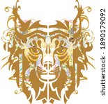 golden lynx head flame splashes.... | Shutterstock .eps vector #1890179092