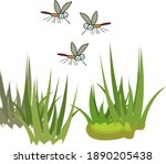Cartoon Mosquitoes Flying Over...