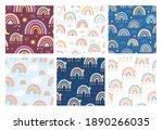rainbow seamless pattern set.... | Shutterstock .eps vector #1890266035