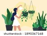 happy woman watering...   Shutterstock .eps vector #1890367168