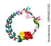 two hummingbirds are flying... | Shutterstock .eps vector #1890401182