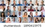 multicultural faces photo... | Shutterstock . vector #1890415975