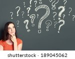 young girl with question mark... | Shutterstock . vector #189045062