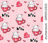 valentine cat in a cup seamless ... | Shutterstock .eps vector #1890513322