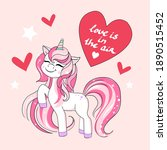 cute unicorn and lettering love ... | Shutterstock .eps vector #1890515452