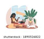 women on video call during...   Shutterstock .eps vector #1890526822