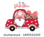 valentine gnome in flower and... | Shutterstock .eps vector #1890532345