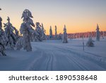winter scene with snow covered...   Shutterstock . vector #1890538648