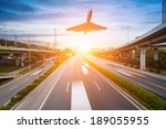 highway and viaduct under the... | Shutterstock . vector #189055955