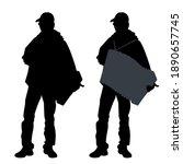vector black silhouette of a... | Shutterstock .eps vector #1890657745