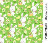 spring easter background with... | Shutterstock .eps vector #1890673618