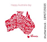 happy australia day. silhouette ...   Shutterstock .eps vector #1890725035