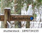 Taevaskoja Hiking Trail Sign....