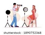 photographer photographing... | Shutterstock .eps vector #1890752368