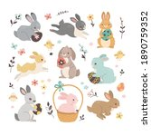 easter rabbits collection....   Shutterstock .eps vector #1890759352