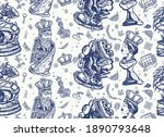chess seamless pattern. old... | Shutterstock .eps vector #1890793648
