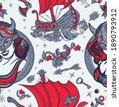 vikings seamless pattern. long...   Shutterstock .eps vector #1890793912