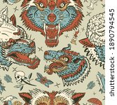 wolves pattern. dark gothic... | Shutterstock .eps vector #1890794545