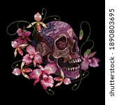embroidery human skull and pink ... | Shutterstock .eps vector #1890803695