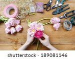 Florist At Work. Woman Making...