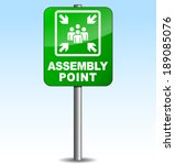 Vector illustration of vertical assembly point sign on sky background