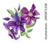 Bouquet Of Purple Flowers On A...