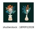 abstract vase flowers poster.... | Shutterstock .eps vector #1890912028