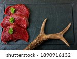 Raw Steak Meat From Roe Deer On ...