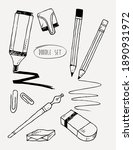 doodle set of pencil with... | Shutterstock .eps vector #1890931972