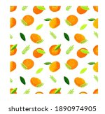 small orange with green leaf...   Shutterstock . vector #1890974905