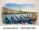 Watercolor Drawing Of Gondolas...