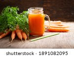 Glass Jar Of Fresh Carrot Juice ...