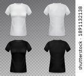 women t shirt mockup. realistic ...   Shutterstock .eps vector #1891132138